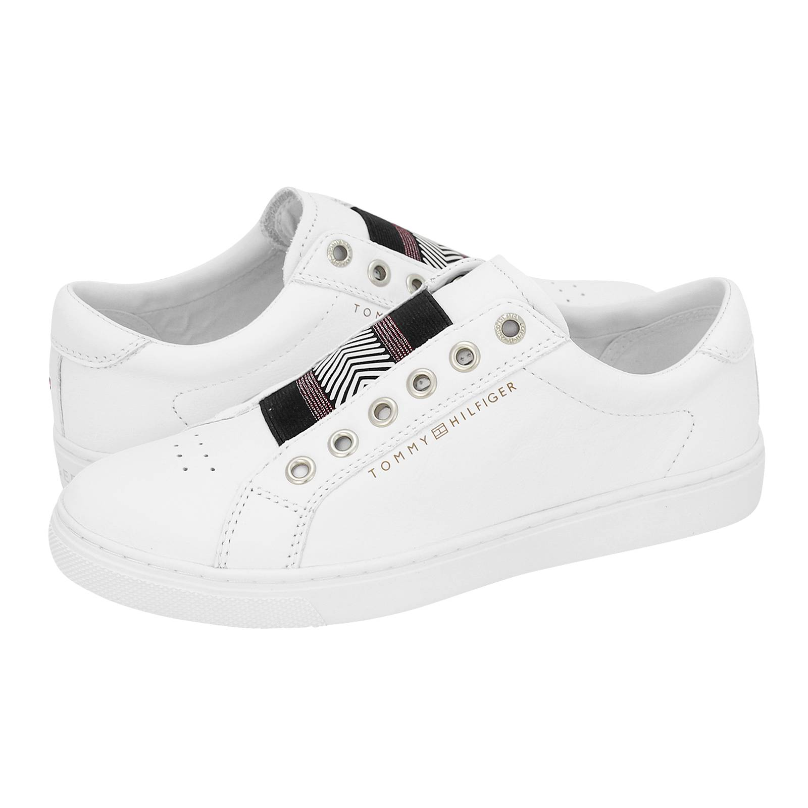 Womens Iconic Metallic Elastic Low-Top Sneakers, White Tommy Hilfiger