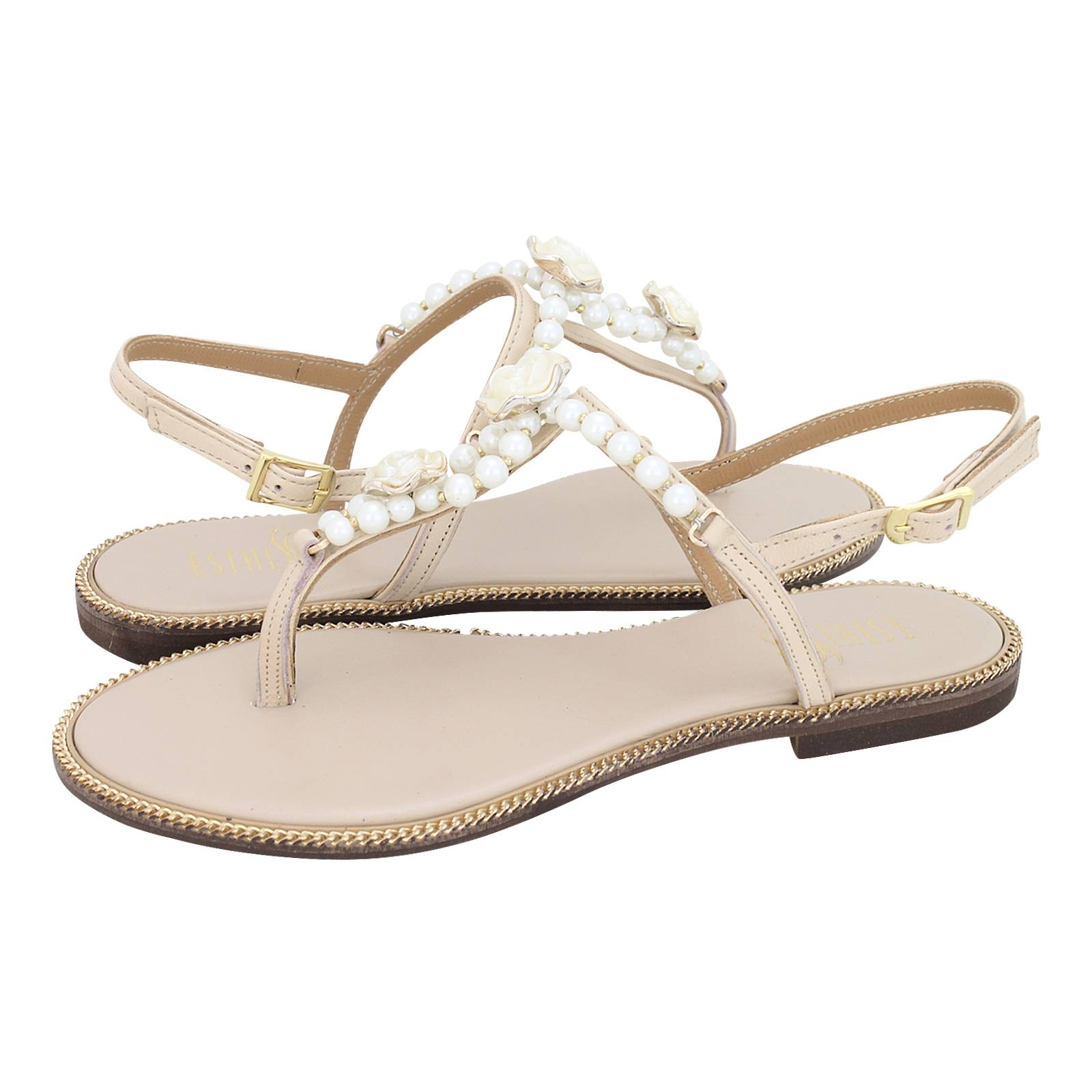 Nades - Esthissis Women s flat sandals made of leather - Gianna ... 482cecb3d2c