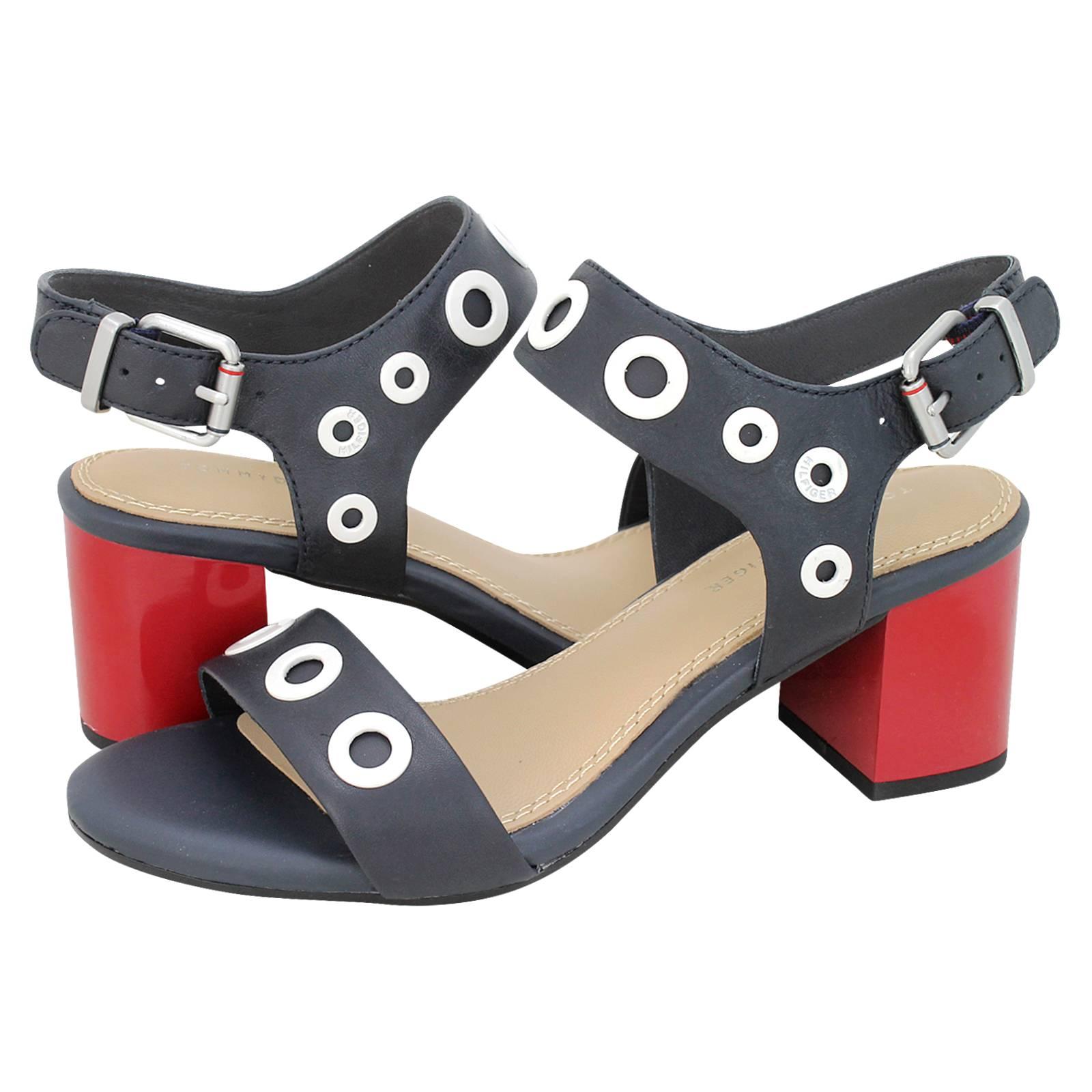 bfa9841a779f0 Tommy Hilfiger Blocky Mid Heel White Eyelets sandals. Blocky Mid Heel White  Eyelets